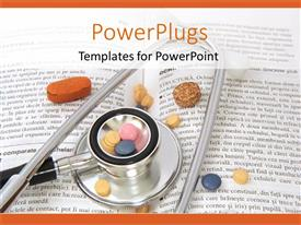 PowerPlugs: PowerPoint template with stethoscope pills on book