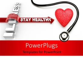 PowerPlugs: PowerPoint template with stethoscope and red heart, with an arrow overcome illness over white