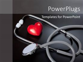 PowerPlugs: PowerPoint template with stethoscope & red heart over a black background
