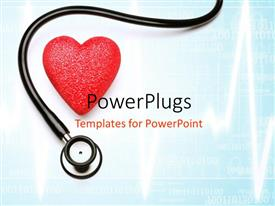 PowerPoint template displaying stethoscope and red heart over blue background