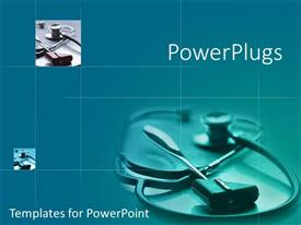 PowerPlugs: PowerPoint template with stethoscope and a reflex hammer on a bluish background