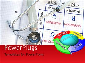 PowerPlugs: PowerPoint template with a stethoscope with a report card and a circle