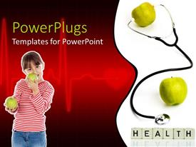 PowerPoint template displaying stethoscope testing apple heartbeat with boy eating green apples on red background