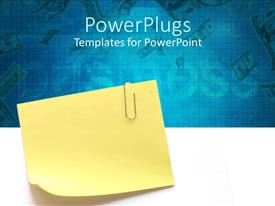 PowerPoint template displaying sticky note with clip in blue background written business