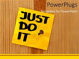 PowerPoint template displaying just Do It sticky note nailed to wooden board