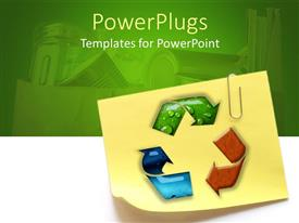 PowerPlugs: PowerPoint template with sticky note with recycling symbol and paperclip