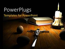 PowerPlugs: PowerPoint template with a table of a Christian with darkness in background
