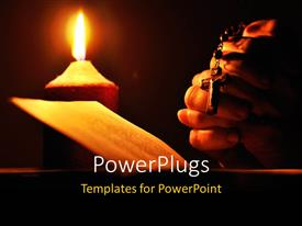 PowerPlugs: PowerPoint template with still life with candle prayer book and prayer hands with black color