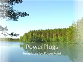 PowerPlugs: PowerPoint template with still water andand trees planted by the the river side