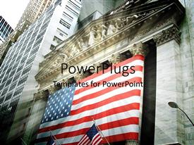 PowerPlugs: PowerPoint template with stock exchange depiction with American flag on wall street