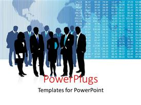 PowerPlugs: PowerPoint template with stock market chart over world map with business people standing by
