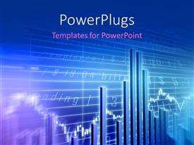PowerPlugs: PowerPoint template with stock market data behind blue bar chart