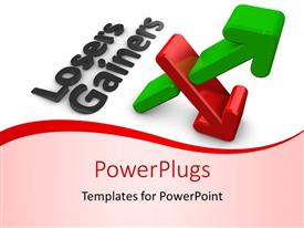 PowerPlugs: PowerPoint template with stock market depiction with red and green arrow depicting lose and gain