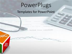 PowerPlugs: PowerPoint template with a calculator with a glasses and white background