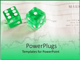 PowerPoint template displaying stock market risk metaphor with financial graph and green and white dice
