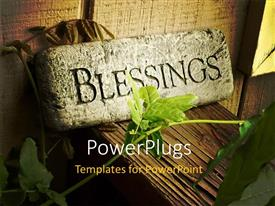 PowerPoint template displaying stone Blessings plaque on porch rail behind green vine
