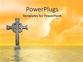 PowerPoint template displaying a stone cross in the ocean with clouds in the background