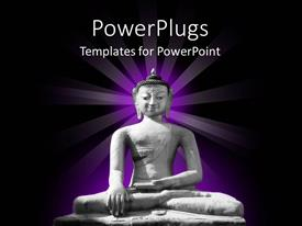 PowerPoint template displaying stone statue of Buddha glowing with purple, Buddhism, religion, spirituality