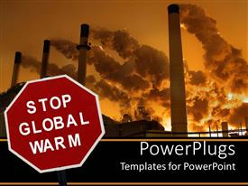 PowerPlugs: PowerPoint template with stop global warm sign with smokestacks polluting sky