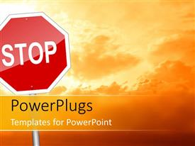 PowerPlugs: PowerPoint template with large stop road sign depicting STOP to global warming