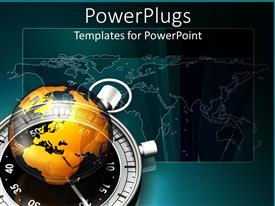 PowerPlugs: PowerPoint template with a stop watch, a globe and the map of the Earth in the background