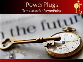 PowerPoint template displaying stop watch and skeleton key sitting on blurred newspaper with red frame