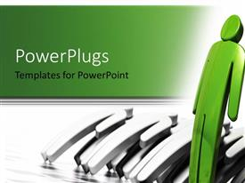 PowerPlugs: PowerPoint template with storm blowing 3D men down with green man standing upright