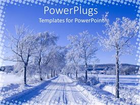 PowerPlugs: PowerPoint template with straight path snowy between withered trees filled with snowy mountains in distance