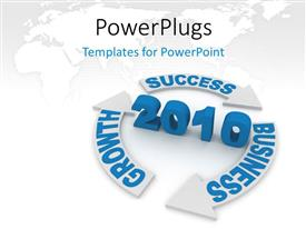 PowerPoint template displaying strategy for Year 2010, with global map