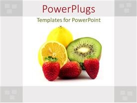PowerPoint template displaying strawberries, lemons and kiwi on white and gray background