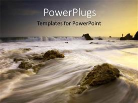 PowerPlugs: PowerPoint template with a stream flowing through the rocks with sky in the background