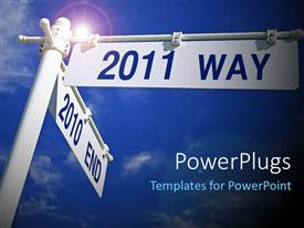 PowerPlugs: PowerPoint template with street post with direction for 2011, sky