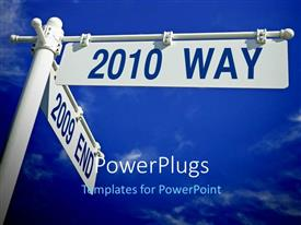 PowerPlugs: PowerPoint template with street post with year 2010 versus 2009, with blue sky