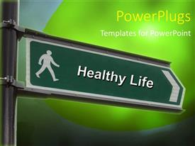 PowerPlugs: PowerPoint template with street sign with a Healthy Life keyword over green background
