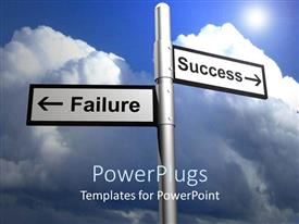 PowerPlugs: PowerPoint template with street sign indicating intersection of success and failure with large rain cloud in background