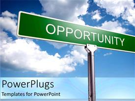 PowerPlugs: PowerPoint template with street sign of opportunity with blue skies as a metaphor positive thinking