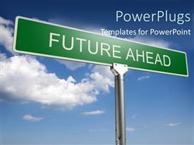 PowerPlugs: PowerPoint template with street sign pointing future ahead direction choices decisions metaphor