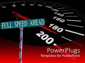 PowerPlugs: PowerPoint template with street sign reading 'Full speed ahead' with a background of a speedometer approaching 200mph
