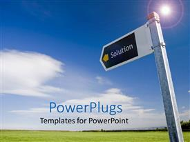 PowerPlugs: PowerPoint template with street sign with word solution pointing across green field under blue sky,  problem solving, business
