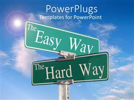 PowerPlugs: PowerPoint template with street signs blue skies directions the easy hard way choices business planning