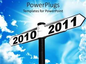 PowerPlugs: PowerPoint template with street signs indicating transition from 2010 to 2011