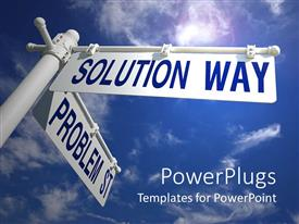PowerPlugs: PowerPoint template with street signs pointing directions solution and problem metaphor blue sky