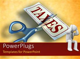 PowerPlugs: PowerPoint template with stressful man with scissors cutting a piece of paper with the word taxes in background