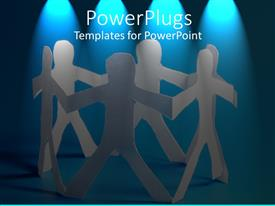 PowerPlugs: PowerPoint template with string of paper dolls arranged in circle under blue lights, friendship, teamwork