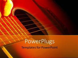 PowerPlugs: PowerPoint template with strings of guitar lying side ways in the dark