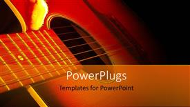 PowerPoint template displaying strings of guitar lying side ways in the dark