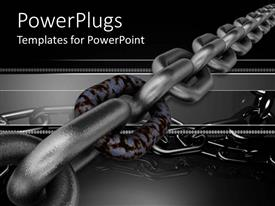PowerPoint template displaying strong chain with silver links and one rusty link in chain on dark gray and black background