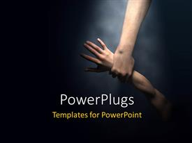 PowerPlugs: PowerPoint template with strong hand gripping wrist of second arm