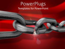 PowerPoint template displaying strong metallic chain broken on a red colored background