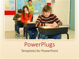 PowerPlugs: PowerPoint template with student cheats while writing continuous assessment with teacher invigilating
